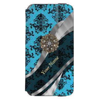 Modelo azul personalizado del damasco del vintage funda billetera para iPhone 6 watson
