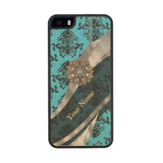 Modelo azul personalizado del damasco del vintage funda de arce carved® para iPhone 5