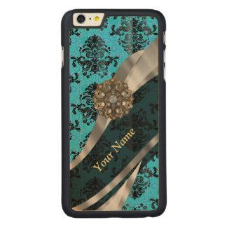 Modelo azul personalizado del damasco del vintage funda de arce carved® para iPhone 6 plus