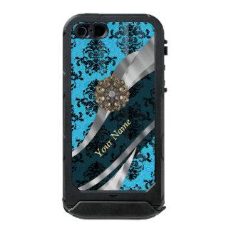Modelo azul personalizado del damasco del vintage funda para iPhone 5 incipio ATLAS ID
