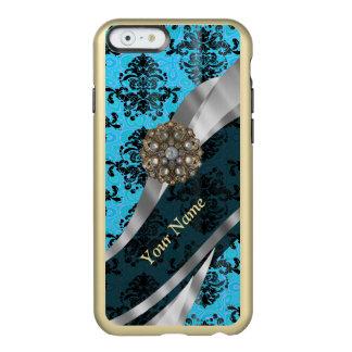 Modelo azul personalizado del damasco del vintage funda para iPhone 6 plus incipio feather shine