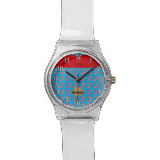 Modelo azul personalizado del tocino de la reloj de mano