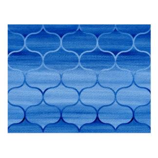 Modelo azul precioso de Ogee de la acuarela Tarjeta Postal