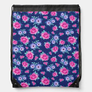 Modelo azul púrpura rosado floral de los rosas mochilas