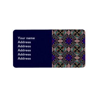 Modelo azul retro del fractal del flor etiquetas de dirección