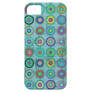 Modelo azul retro sucio del círculo iPhone 5 Case-Mate cárcasa