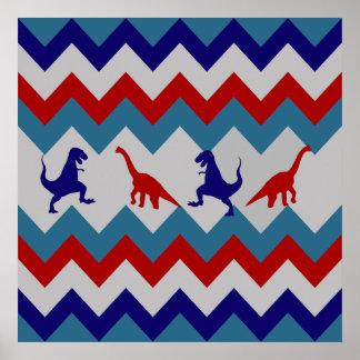Modelo azul rojo de Chevron de los dinosaurios de  Póster