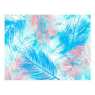 Modelo azul rosado brillante de la hoja del postal