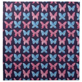 Modelo azul rosado de la pintura de la acuarela servilleta imprimida