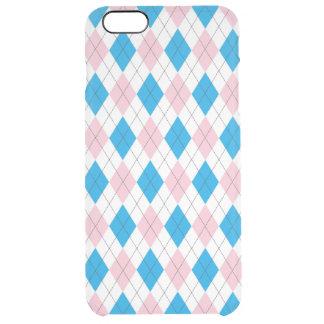 Modelo azul rosado del argyle funda clearly™ deflector para iPhone 6 plus de unc