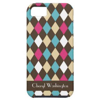Modelo azul rosado moderno de Brown Argyle persona iPhone 5 Case-Mate Funda