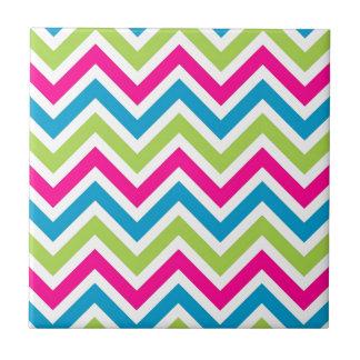 Modelo azul rosado verde de las rayas de los azulejo cuadrado pequeño