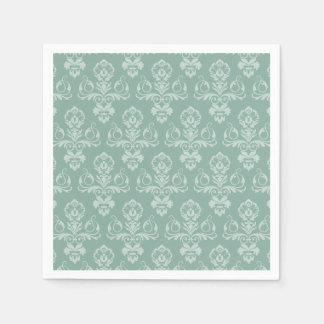 Modelo azul, servilletas verdes del damasco del servilleta desechable