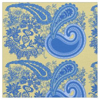Modelo azul y amarillo de Paisley Telas