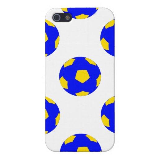 Modelo azul y amarillo del balón de fútbol iPhone 5 cobertura