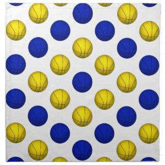 Modelo azul y amarillo del baloncesto servilletas imprimidas