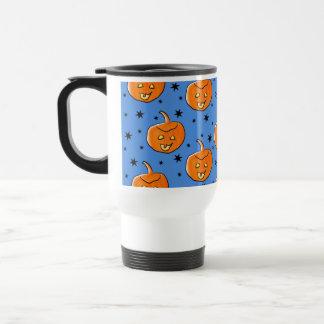 Modelo azul y anaranjado de la calabaza de Hallowe Tazas De Café