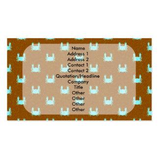 Modelo azul y anaranjado del cangrejo tarjetas de visita