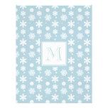 Modelo azul y blanco 1 de los copos de nieve con e tarjeta publicitaria