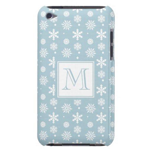 Modelo azul y blanco 1 de los copos de nieve con e Case-Mate iPod touch cobertura