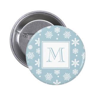 Modelo azul y blanco 1 de los copos de nieve con e pin redondo de 2 pulgadas