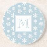 Modelo azul y blanco 1 de los copos de nieve con e posavasos personalizados