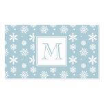 Modelo azul y blanco 1 de los copos de nieve con e tarjeta de visita