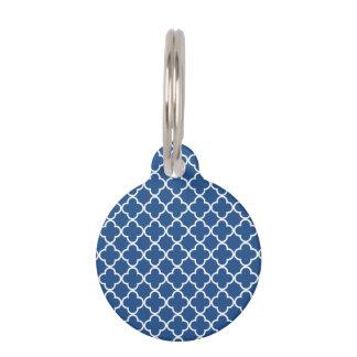 Modelo azul y blanco clásico del marroquí de placa para mascotas