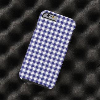 Modelo azul y blanco comprobado de medianoche de funda de iPhone 6 tough