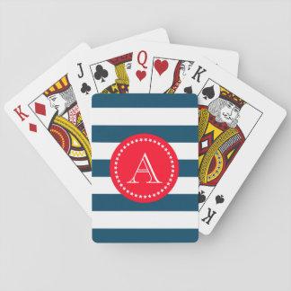 Modelo azul y blanco de la marina de guerra cartas de póquer