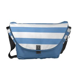 Modelo azul y blanco de la raya bolsas messenger