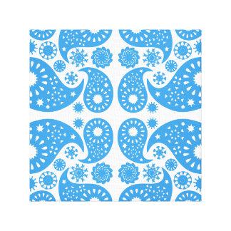 Modelo azul y blanco de Paisley Impresión En Lona