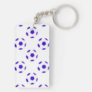 Modelo azul y blanco del balón de fútbol llavero