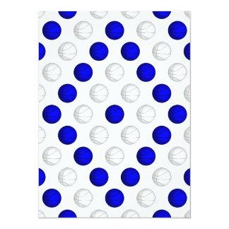 """Modelo azul y blanco del baloncesto invitación 5.5"""" x 7.5"""""""