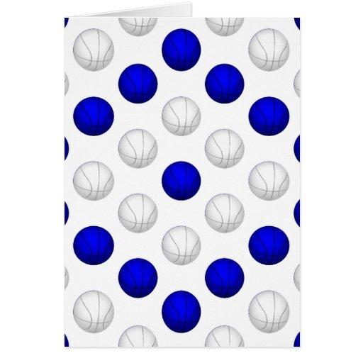 Modelo azul y blanco del baloncesto tarjeta de felicitación