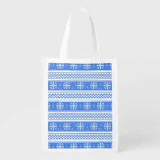 Modelo azul y blanco del copo de nieve del bolsas reutilizables