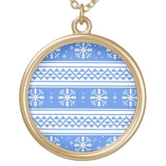 Modelo azul y blanco del copo de nieve del pendientes personalizados