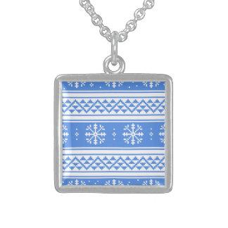 Modelo azul y blanco del copo de nieve del joyerías