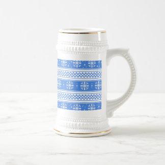 Modelo azul y blanco del copo de nieve del jarra de cerveza
