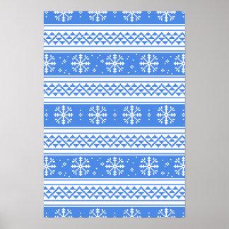 Modelo azul y blanco del copo de nieve del póster