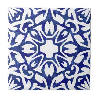 Modelo azul y blanco del español de la acuarela azulejo cuadrado pequeño
