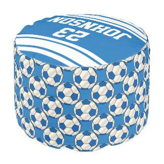 Modelo azul y blanco del fútbol del deporte puf redondo