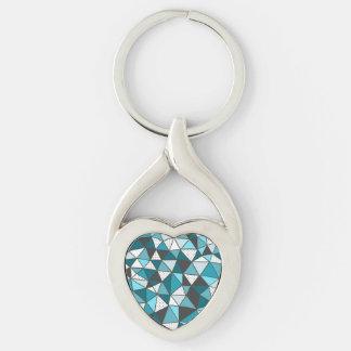 Modelo azul y blanco del triángulo llavero plateado en forma de corazón