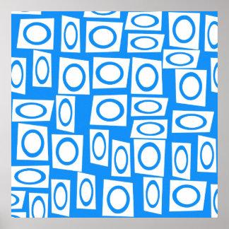 Modelo azul y blanco del trullo de la diversión póster