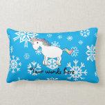 Modelo azul y blanco del unicornio de los copos de almohada