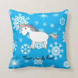 Modelo azul y blanco del unicornio de los copos de almohadas