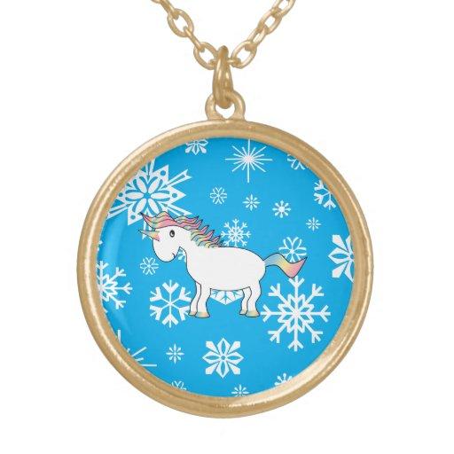 Modelo azul y blanco del unicornio de los copos de colgante redondo