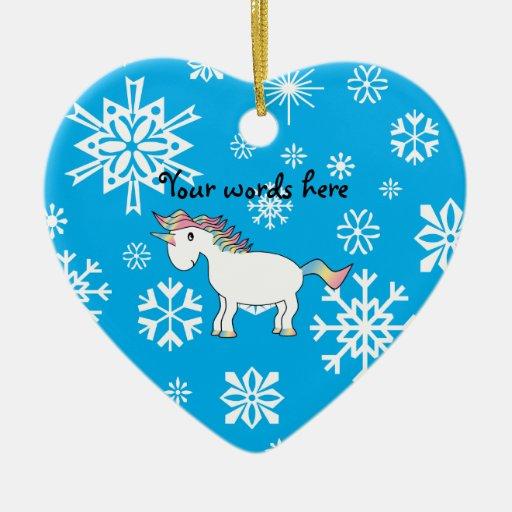 Modelo azul y blanco del unicornio de los copos de adorno de cerámica en forma de corazón
