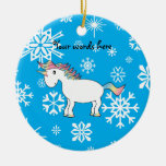 Modelo azul y blanco del unicornio de los copos de adorno redondo de cerámica