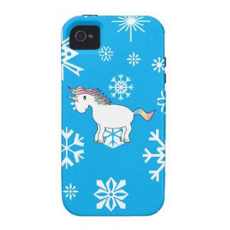Modelo azul y blanco del unicornio de los copos de vibe iPhone 4 carcasas